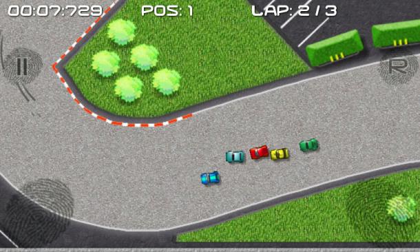 Bei Rennen im engen Pulk kommt trotz des simplen Spieldesigns jede Menge Vroom-Vroom-Gefühl auf.