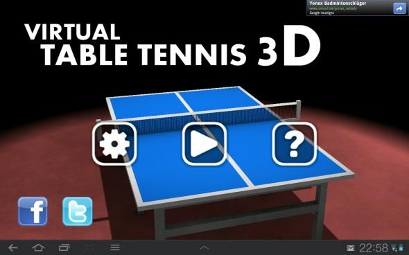Das Hauptmenü von Table Tennis 3D