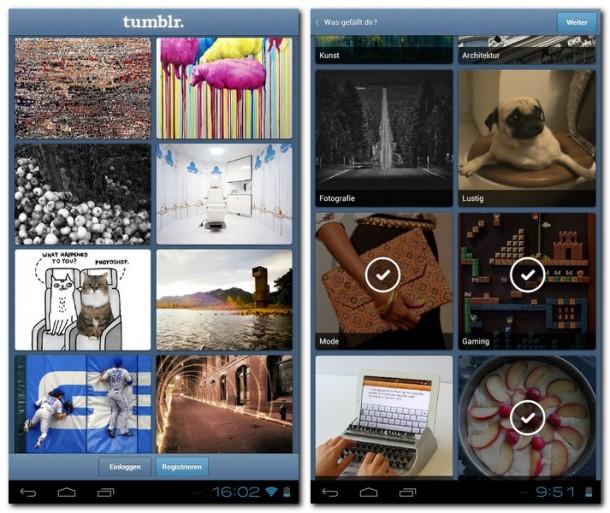 Links ist der Tumblr-Radar zu sehen, dieser zeigt besonders populäre Posts. Rechts im Bild wird festgelegt, welchen Themen man folgen möchte.