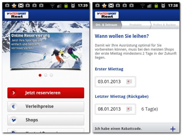 Intersport Rent macht das Leihen von Skiausrüstung einfach: Händler und Artikel wählen und dann noch den ersten und letzten Miettag festlegen.
