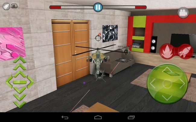 Bei Helidroid Battle steuert ihr einen Spielzeughubschrauber, der sich im Wohnzimmer, im Schlafzimmer und in der Küche Luftgefechte mit einem feindlichen Hubschrauber liefert.