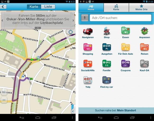 """Das Navigationsprogramm """"M8 – Das Mitdenk-Navi"""" kennt die Straßen und Geschäfte von ganz Deutschland. Ihr Kartenmaterial und auch die Streckenberechnungen lädt die kostenlose App aus dem Internet herunter."""
