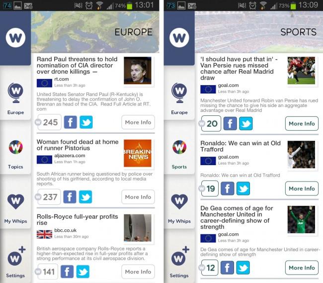 Der soziale Nachrichtendienst News Whip liefert dir spannende Artikel (vorwiegend von englischen Webseiten) die nach der Popularität in sozialen Netzwerken wie Facebook oder Twitter gereiht sind.