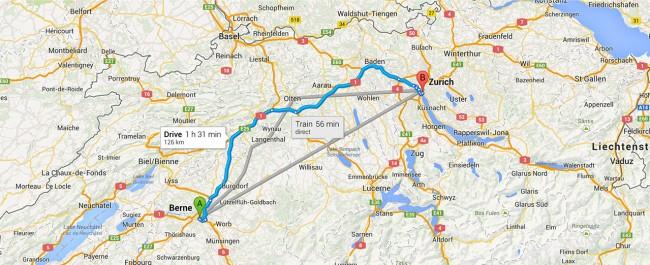 Übersichtliche Anzeige von unterschiedlichen Transportmöglichkeiten in Google Maps.
