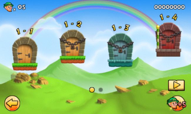 """Das Plattformspiel """"Lep's World 2"""" bietet 64 Level, die auf acht Welten mit unterschiedlichem Aussehen verteilt sind."""