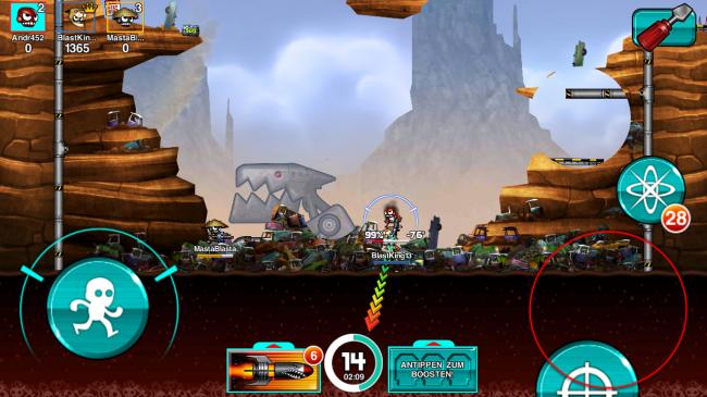 Ähnlich wie beim Vorbild Worms feuerst du deine Waffen durch Tippen und Ziehen auf dem Bildschirm ab.