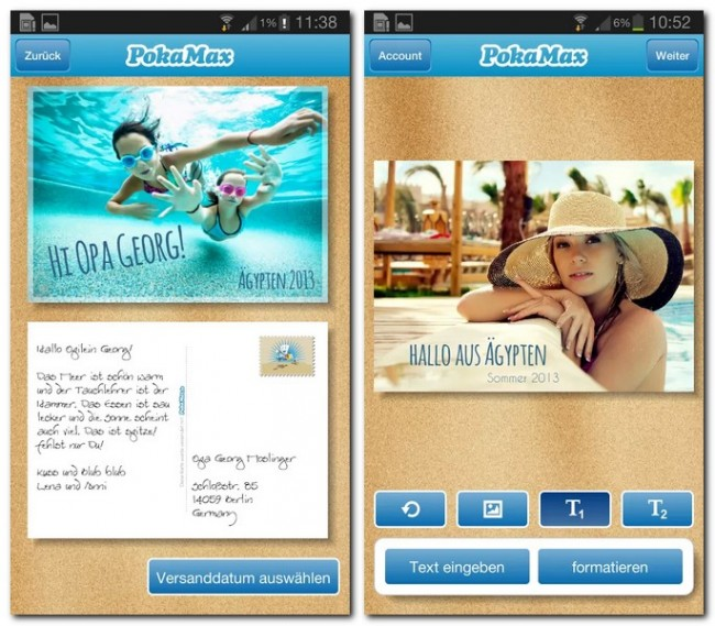 Wie bei einer normalen Postkarte: Motiv auswählen, Urlaubsgrüße schreiben und Empfänger-Adresse hinzufügen. Eben nur etwas virtueller.