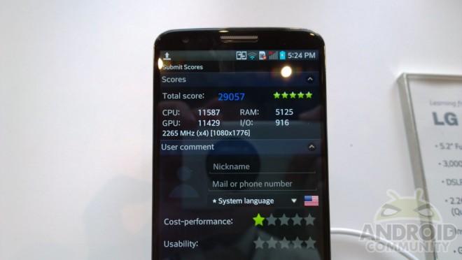 Die Leistungswerte des SnapDragon 800-Prozessors verhelfen dem LG G2 zu einer Spitzenposition im Testfeld. (Bildquelle: AndroidCommunity)