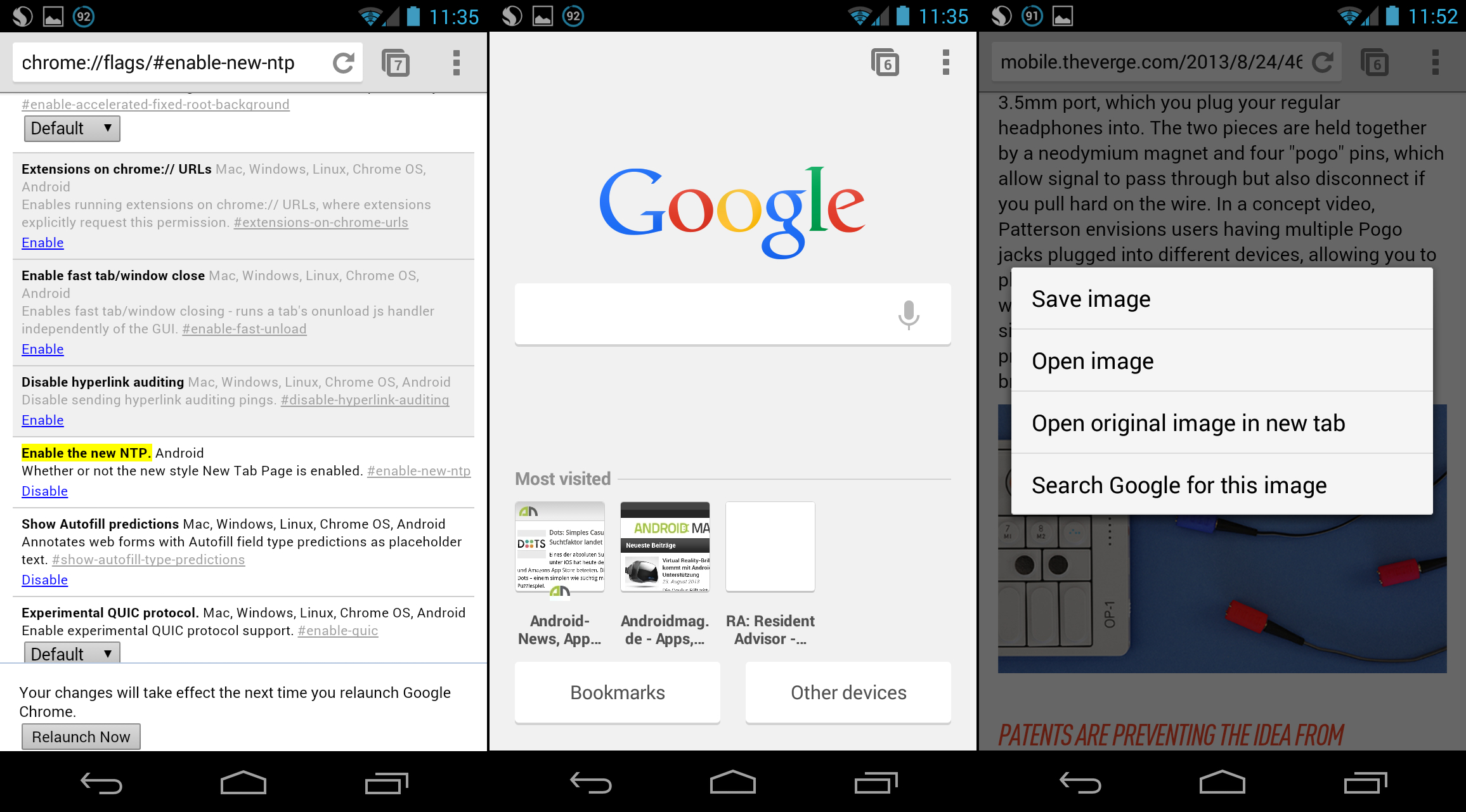 news chrome fuer android desktop modus bookmarks