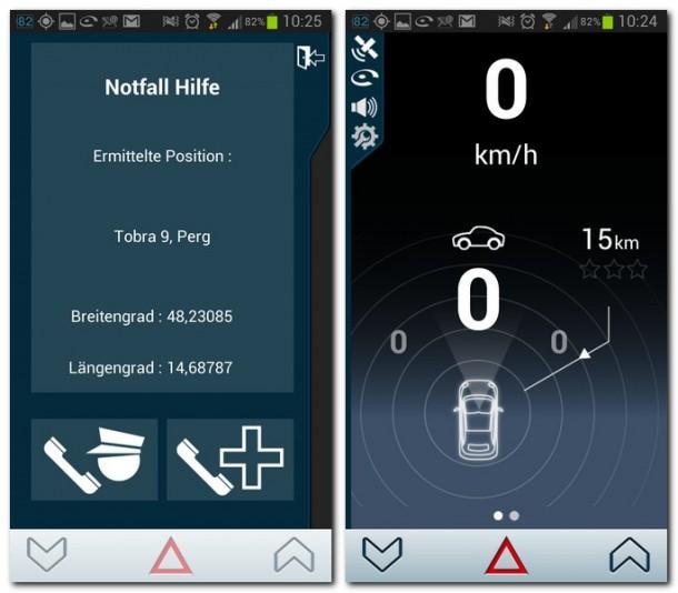 Bei einem Notfall kannst du dich von iCoyote mit der nächsten Notfallzentrale verbinden lassen und ihr deine GPS-Koordinaten durchgeben.