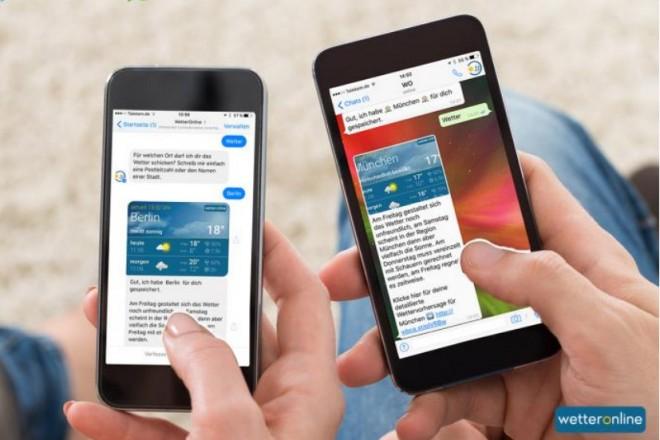 Mit dem persönlichen Wetterberater lassen sich aktuelle Wetterinformationen über WhatsApp und Facebook direkt auf dem Handy empfangen (Foto: WetterOnline)