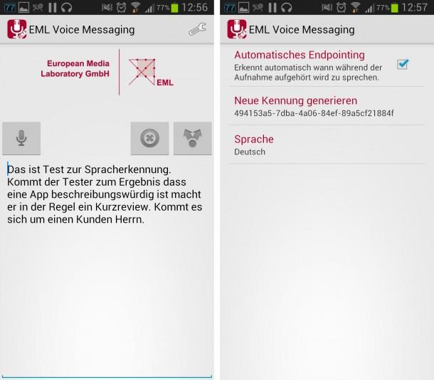 Mit dieser Spracherkennungs-App kannst du deinem Smartphone Texte vorlesen, sie übersetzt deine Sprache sogar relativ gut in reinen Text, der anschließend mit Hilfe der Smartphone-Tastatur korrigiert und über den Kopieren-Befehl in die Zwischenablage übernommen werden kann.