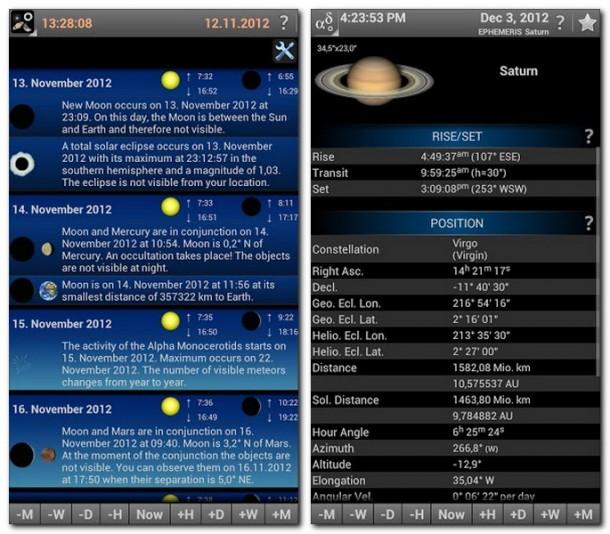 Astronomische Ereignisse oder einfach nur Informationen zu einzelnen Planeten gefällig? Kein Problem: Die App liefert Antworten auf alle Fragen zu diesem Thema.