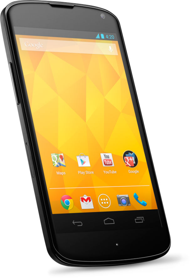 Das Google Nexus 4 wird wahrscheinlich das erste Smartphone, das ein Update auf die neue Android Version erhält. Foto: Google.