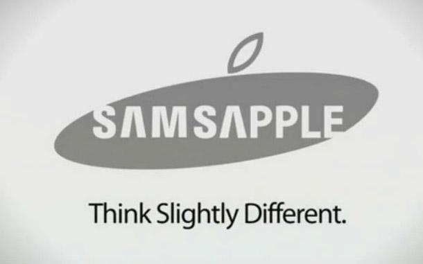 Das SamsApple Logo eine Creation aus dem Samsung Logo und dem Apple Logo: Foto: Mashable.com.