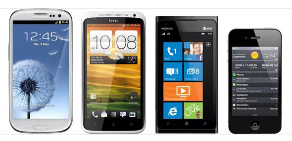 Das Samsung Galaxy S3, HTC One, Nokia Lumia 900 und das iPhone 4S.