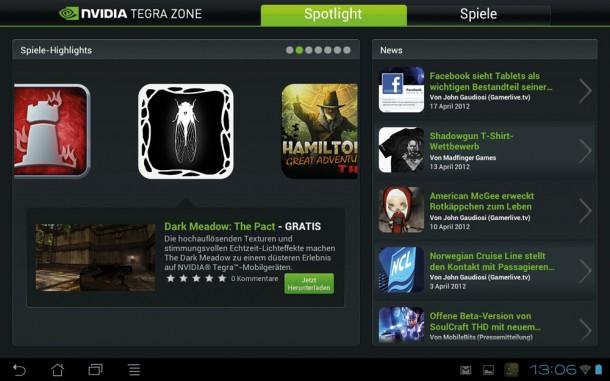 In der Tegra Zone lassen sich für den schnellen Prozessor optimierte Spiele kaufen oder teilweise auch kostenlos herunterladen.