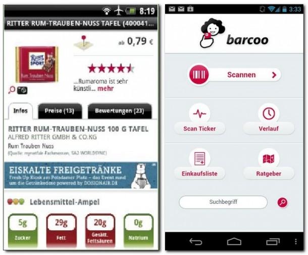 Barcoo verrät Ihnen alle wichtigen Details über Produkte, deren Streifencodes Sie einscannen.