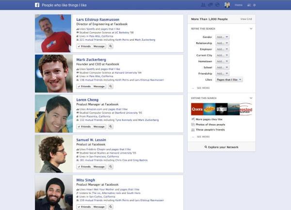 Die Suche kann sogar nach Personen suchen, die die gleichen Interessen, wie der Facebook-Nutzer haben.