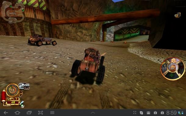 Bei Steampunk Racing trittst du mit deinem dampfbetriebenen Wagen gegen andere Gefährte an.