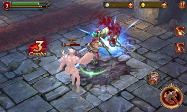 Angriffe pariert der Spieler durch einen beherzten Klick auf den Block-Button, ein Spezialangriff vernichtet besonders große Lästlinge.