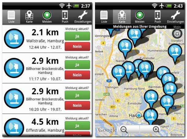 Die VerkehrsApp liefert Ihnen Infos über Staus, Baustellen, Unfälle und auch Blitzanlagen. Statt in einer Liste kann das Programm die Meldungen auch auf einer Straßenkarte anzeigen.